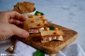 Schnelles Fingerfood mit diesem Millefeuille mit Melone überhaupt kein Problem.