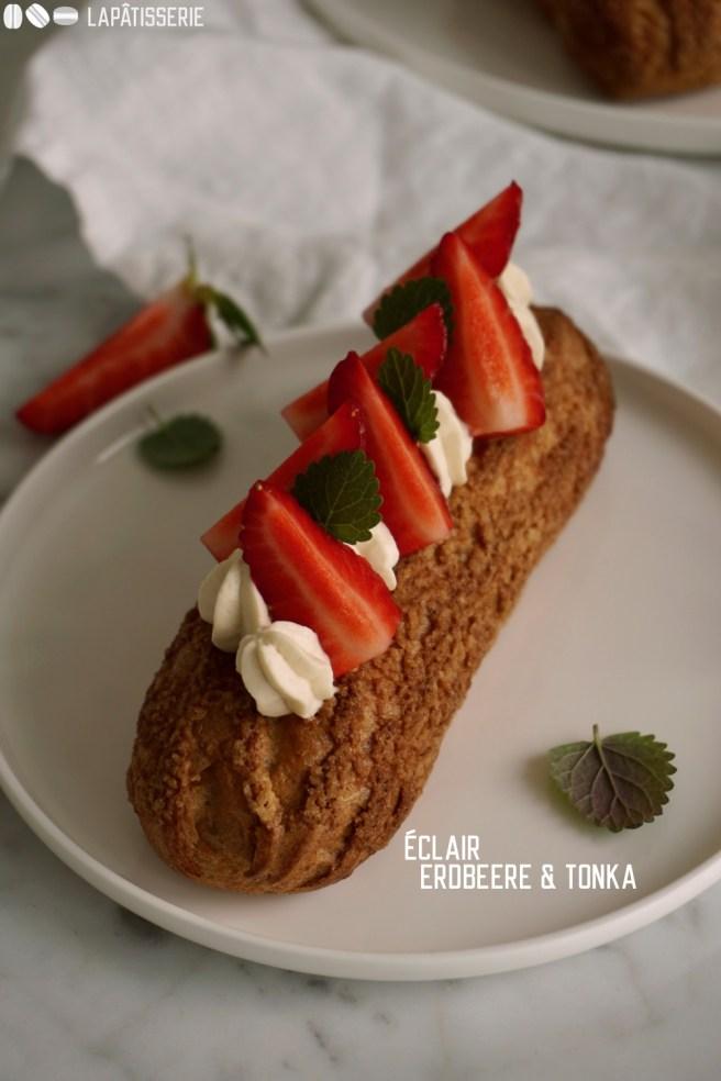 Lass den Frühling herein mit diesen Eclairs mit Erdbeere und luftiger Creme mit Tonkabohne.