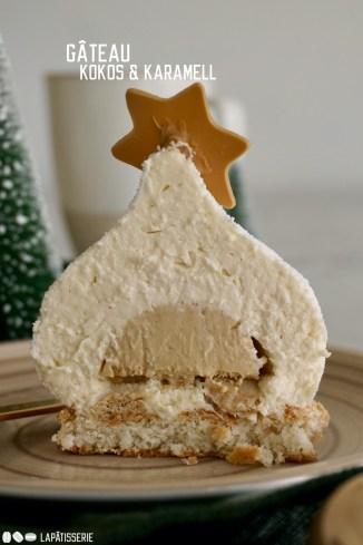 Perfektes Weihnachtsdessert: Feines Törtchen mit luftigen Kokosmousse und cremigen Karamellkern.