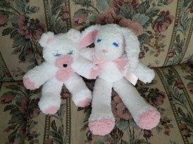 Large white/pink bunny & regular white/pink bear