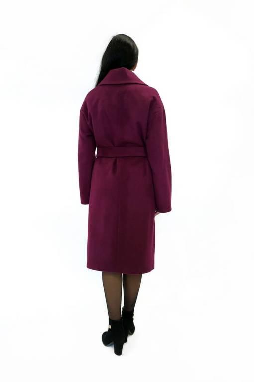 Женское шерстяное пальто Доминика бордовое сзади