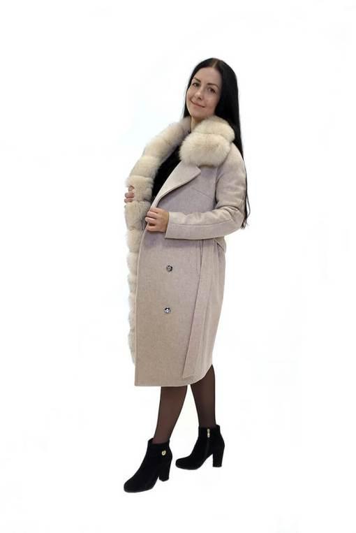 Женское зимнее бежевое шерстяное пальто с мехом Ланда
