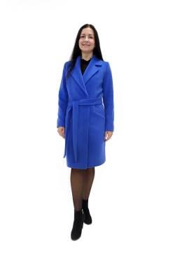 Женское шерстяное голубое пальто Юстина