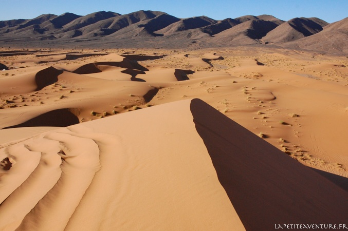 crête de dune dans le désert du maroc