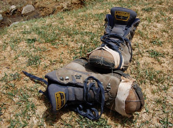 Chaussures de rando cassées