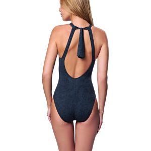 Bañador con cuello halter en textura de color negro
