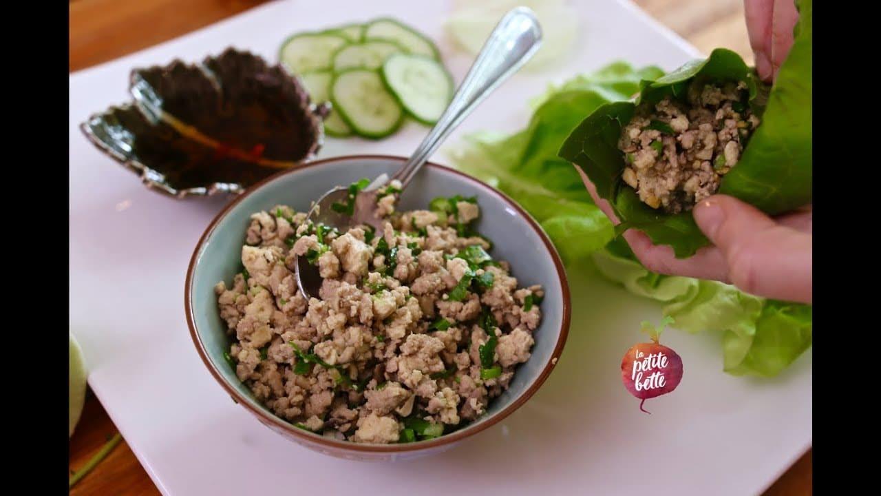 Rouleaux de laitue asiatique aux shiitakes, tofu et porc