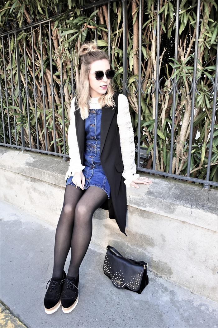 Look robe salopette & dentelle - La Petite Frenchie