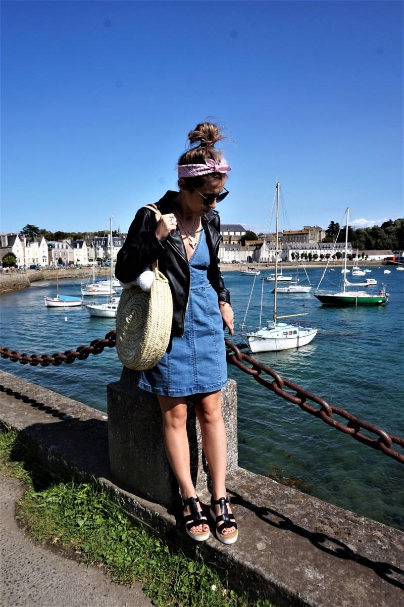 Look denim & panier rond - La Petite Frenchie