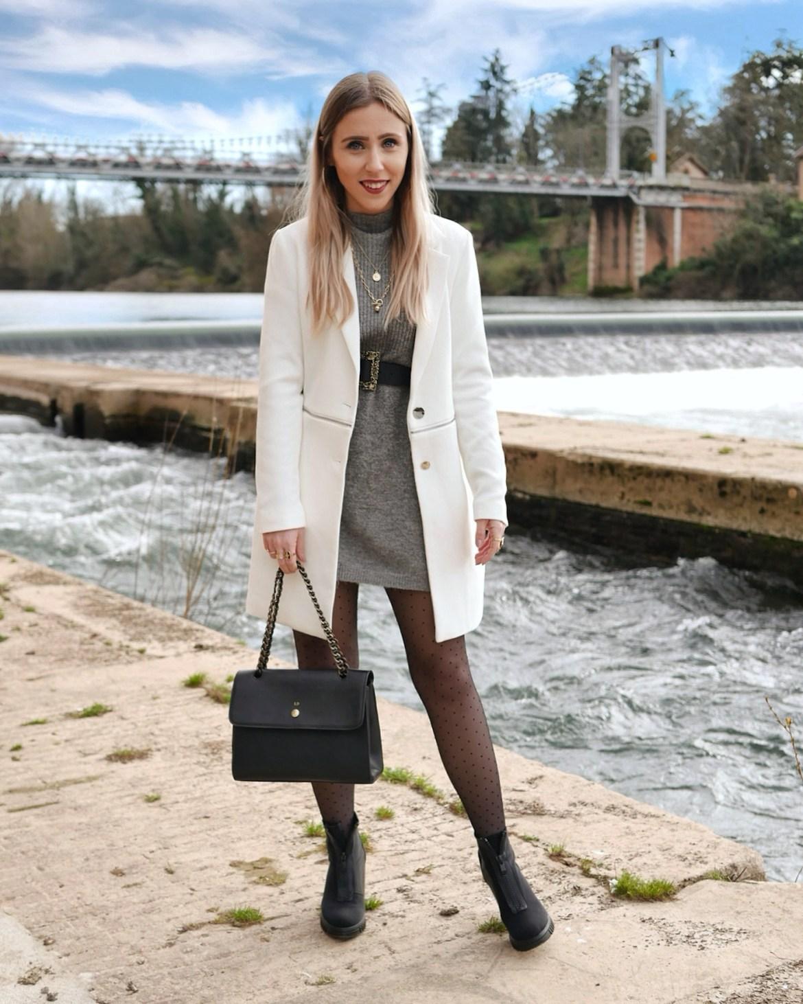 Look manteau blanc - La Petite Frenchie