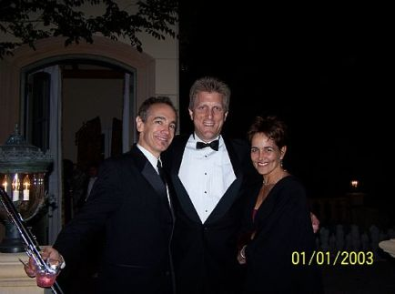 Jason Graae, John Sawoski, and Cate Caplin after performing in a benefit for the Rubicon Theatre Company.