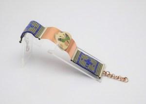Pulsera de Cristal de Cerámica Mata Ortíz, de 2 cm Bimetal Cobre y Plata .950 PC2CMOB/007