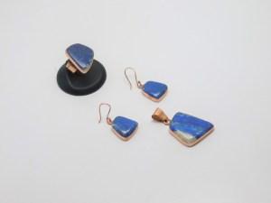 Juego de Arete, Anillo y Dije de cobre montado en Piedra Natural Lapislazuli pídalo con la clave SetPiedC/001