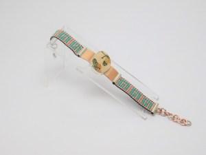 Pulsera de Cristal de Cerámica Mata Ortíz, de 1cm Bimetal Cobre y Plata .950 PC1CMOB/003