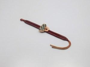 Pulsera de piel natural realizado en cobre y cerámica Mata Ortiz. Pídalo con la clave PPCMOC005. PIEZA ÚNICA.