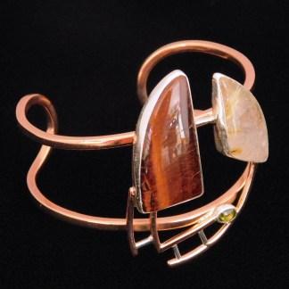 Cobre/Plata.950 (Bimetal) con Piedra Natural