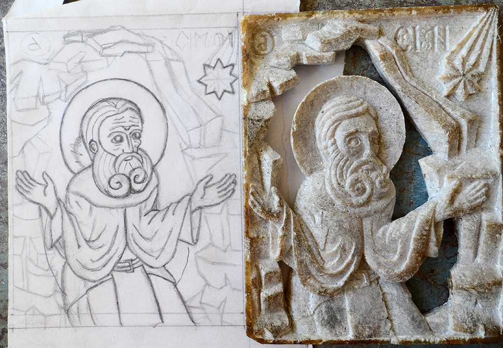 Micro-sculpture ou bas-relief ajouré en stéatite