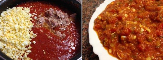 Pisto del tomate con atún y huevo