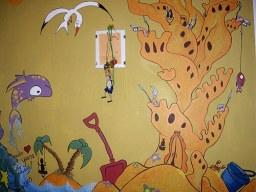 La habitación del Sol, con su isla desierta y su castillo de arena, donde habitan los duendes de los objetos perdidos y la princesa alga.