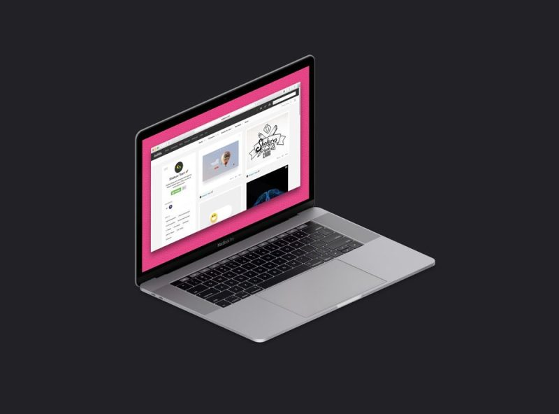 Isometric MacBook Pro Mockup