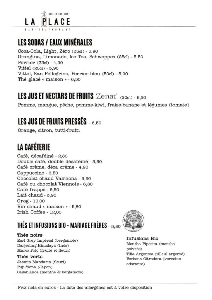 Menu, carte, jus, cafés, thés, La Place, Neuilly