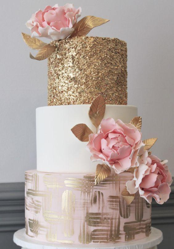 Glitter en el pastel de bodas