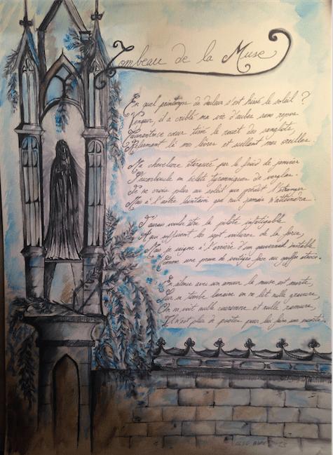 Le Tombeau de la Muse, GLSG, aquarelle, encre, crayon, 40x30 cm