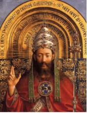Jan Van Eyck (v.1390-1441) Retable de l'Agneau Mystique (détail du Christ en gloire), 1432, Cathédrale Saint-Bavond (Gand), huile sur bois