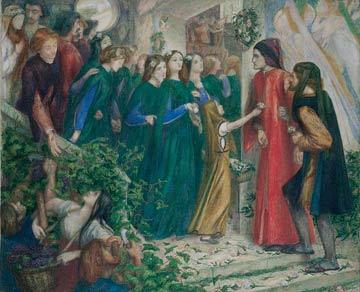 Dante Gabriel Rossetti (1828-1882), Béatrice refusant de saluer Dante, 1855, Ashmolean Museum, Oxford, aquarelle