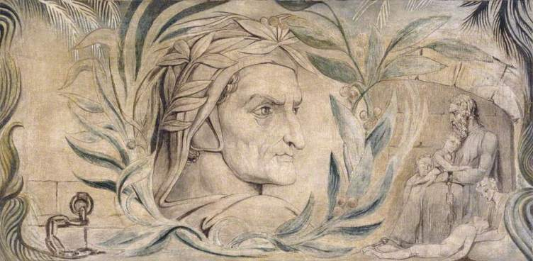 William Blake (1757-1827), Dante Alighieri, vers 1800, Manchester City Galleries, tempera