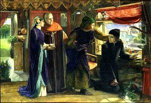 Dante Gabriel Rossetti (1828-1882), L'anniversaire de la mort de Béatrice, 1853, Oxford Ashmolean Museum, aquarelle