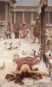 Sainte Eulalie, John William Waterhouse, 1885, Tate Gallery, huile sur toile, 188.6 x 117.5 cm
