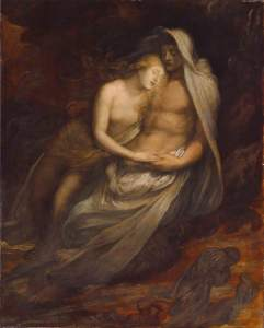 George Frederic Watts, Paolo and Francesca, 1870, Manchester City Galleries, huile sur toile
