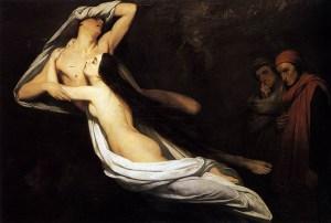 Ary Scheffer, Les ombres de Francesca de Rimini et de Paolo Malatesta apparaissant à Dante et Virgile, 1835, Wallace Collection