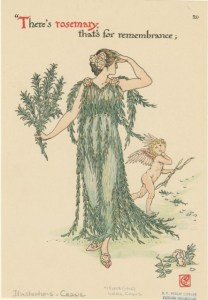 Walter Crane, There's rosemary, that's for remembrance, tiré de l'ouvrage 'Flowers from Shakespeare's Garden' (Londres, Cassell & Co. 1906)