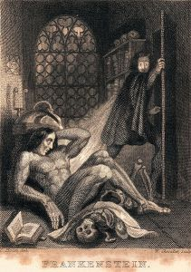 Theodore Von Holst (1810-1844), Frontispice de Frankenstein publié par Colburn and Bentley, Londres,1831