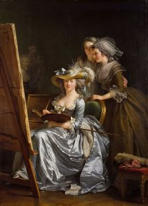 Adélaïde Labille-Guiard (1749-1803) L'Artiste dans son atelier avec deux de ses élèves, Marie Gabrielle Capet et Marie Marguerite Carreaux de Rosemond, 1785, huile sur toile, 210.8x151.cm, ©Metropolitan Museum of Art, New York