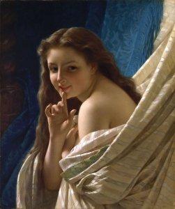 Pierre-Auguste Cot (1837 - 1883) Portrait de jeune femme, 1869, collection particulière, huile sur toile, 65.41 x 54.93 cm,©Schiller and Bodo