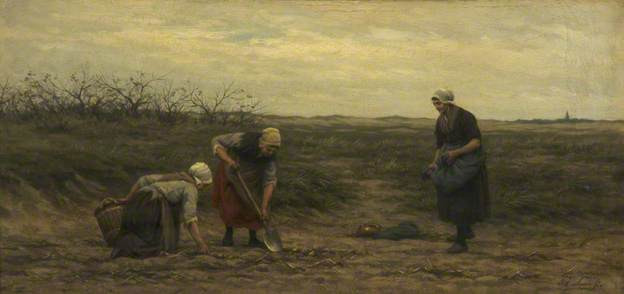Philip Lodewijk Jacob Frederik Sadée, La récolte de pommes de terre (Potato digging) 1875,Whitworth Art Gallery, University of Manchester huile sur bois, 28.4 x 59.1 cm, ©Whitworth Art Gallery, University of Manchester
