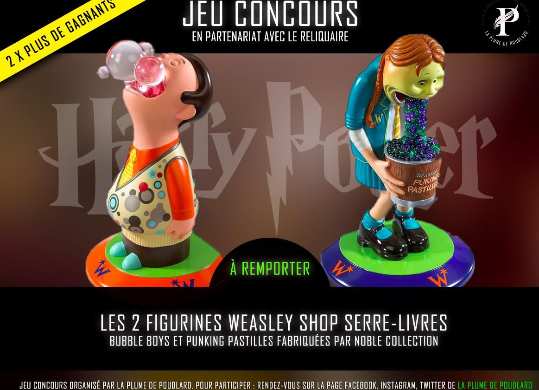 Jeu concours : Remportez 2 figurines serre-livres des Weasley fabriquées par Noble Collection.