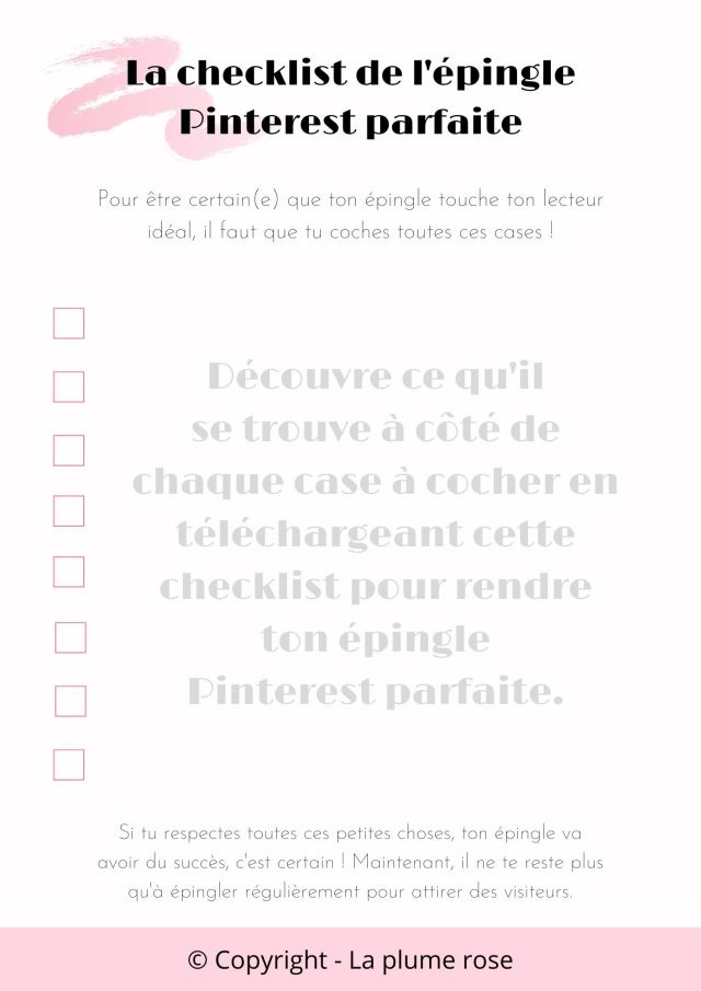 Checklist épingle Pinterest parfaite