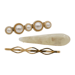 3 piece resin and pearl hair barrette set