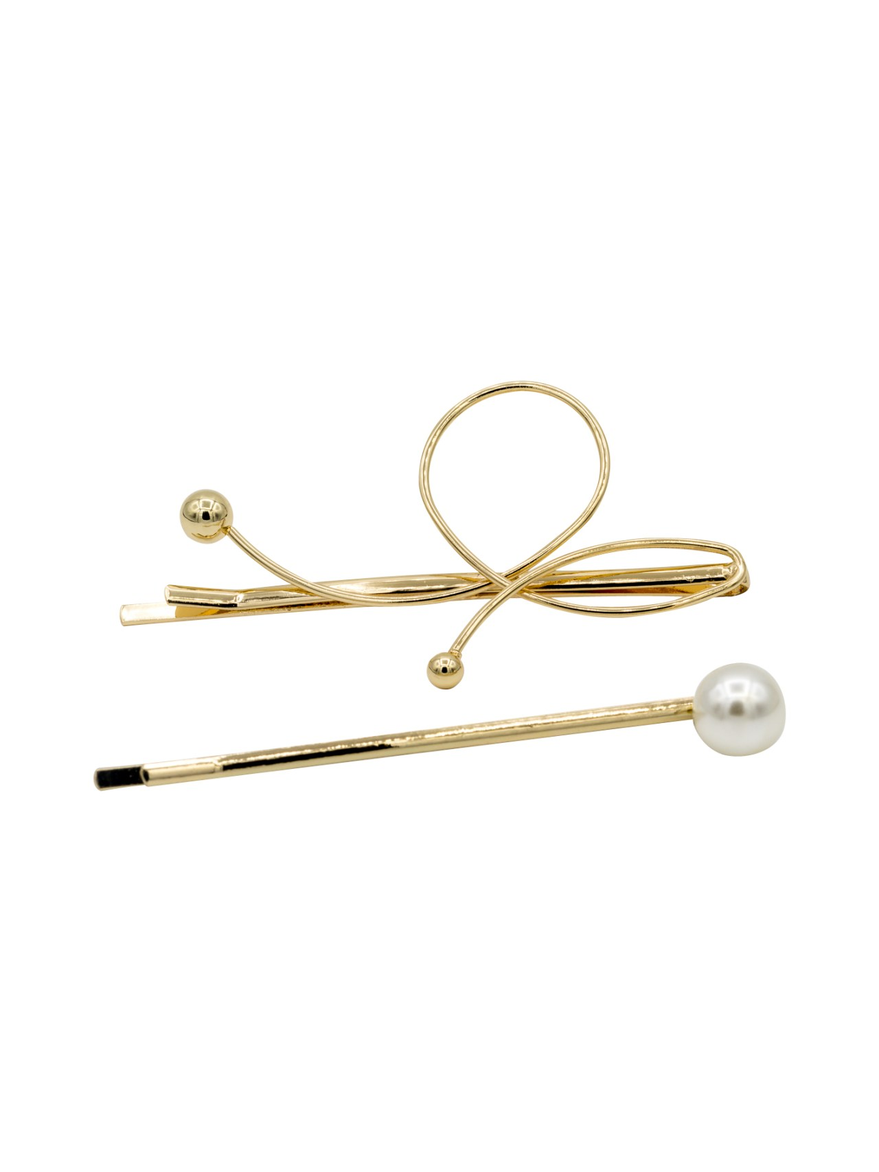 gold twisted metal bobby pins set