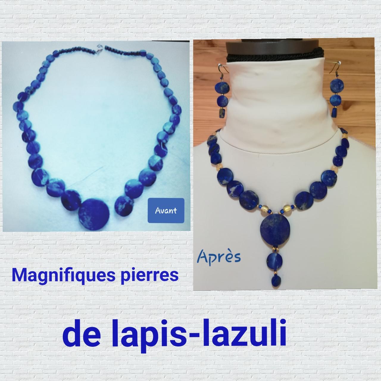 Transformation d'un collier en Lapis-Lazuli