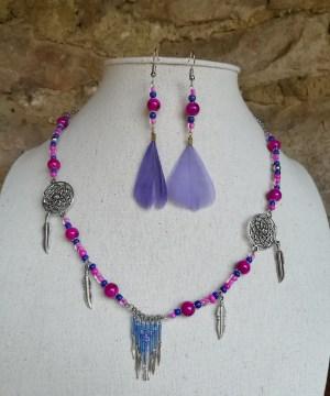 Parure amérindienne fushia et violet
