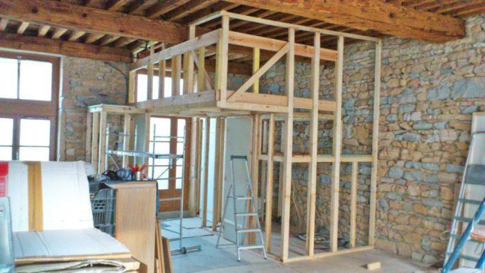 Ossature bois complète de la mezzanine 1