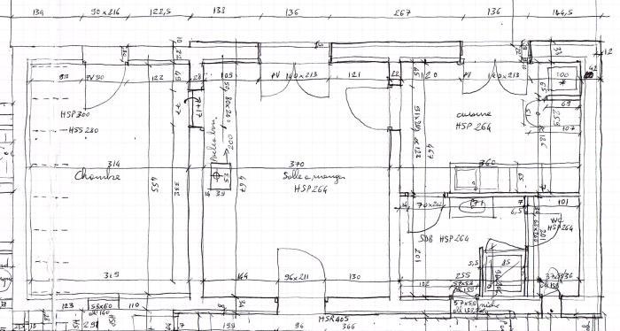 Exemple de plan d'état des lieux obtenu lors d'un relevé architectural