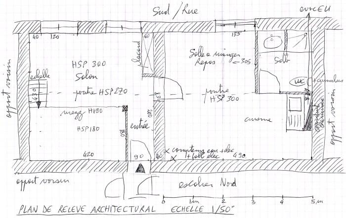 Plan du relevé architectural réalisé lors de la visite de l'appartement - appart 003