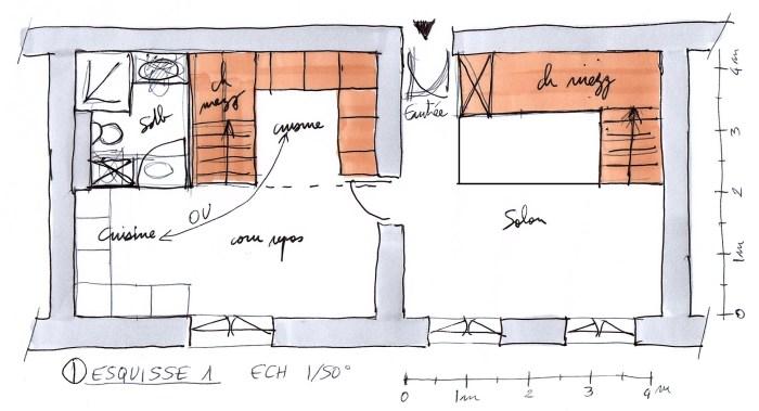 Esquisse 1 - Plan - Ech 1/50