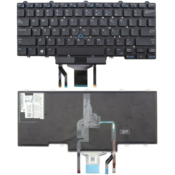 LAPTOP KEYBOARD FOR DELL LATITUDE E7470 WITH MOUSE & WITH BACKLIT NO FRAME US VERSION BLACK.